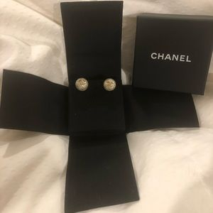 """Chanel """"Quilted"""" Logo Earrings"""